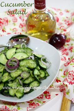 Cucumber Salad... quick and easy summertime salad! by whatscookingwithruthie.com #recipes #salads