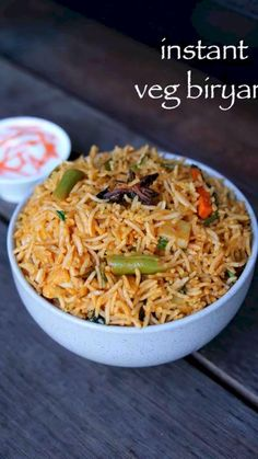 instant biryani recipe, instant veg biryani, easy vegetable biryani recipe with step by step photo/video. qucik biryani rice recipe with leftover rice. Paratha Recipes, Paneer Recipes, Pakora Recipes, Spicy Recipes, Curry Recipes, Spicy Fried Rice Recipe, Cooking Recipes Veg, Easy Veg Recipes, Veg Dinner Recipes