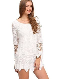 Lace Floral Detail Tunic https://xcelcouture.com/collections/tops/products/romwe-womens-flower-hem-long-sleeve-blouse-short-lace-floral-dress-white-m?variant=35652998994&utm_content=buffer7acd9&utm_medium=social&utm_source=pinterest.com&utm_campaign=buffer
