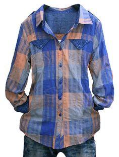 Stylish Slimming Fit Polka Dot Splicing Long Sleeve Plaid Shirt for Women (BLUE,S) China Wholesale - Sammydress.com