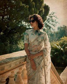 Embroidered Net Saree with hand embroidered Silk blouse - Saree Styles Sabyasachi Sarees, Indian Sarees, Lehenga, Pakistani Dresses, Anarkali, Organza Saree, Net Saree, Indian Attire, Indian Outfits