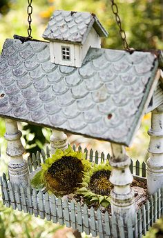 Bird feeder with sunflowers