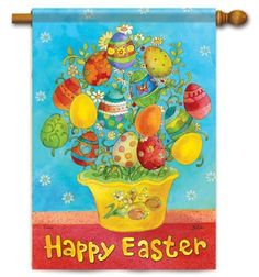 """Easter Tree Decorative House Flag by Carson. $19.25. Buy direct from Flags On A Stick and save on all your decorative flags today!. Hand wash, cold water, mild soap.. Silky Soft, Fade and Mildew Resistant Dura Soft Fabric.. Reads Correctly From Both Sides.. Flag Trends Decorative Easter House Flag Dimensions: 28"""" x 40"""".. Decorative flags are a great home and garden decoration for every season and reason!  The unique production process that goes into our flags is your guarantee..."""