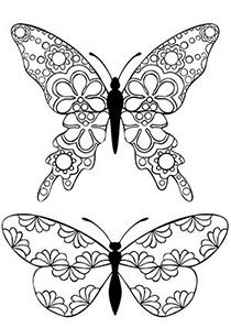 Butterflies doodle...ADULT COLORING BOOK PAGESMore Pins Like This At FOSTERGINGER @ Pinterest