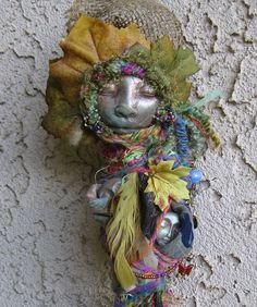 Dryad Tree Spirit Assemblage Bohemian Art Doll by by awesomeart ['found' or cloth/synthetic feather version]
