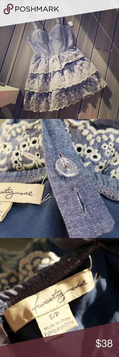 Adorable Lacy Denim Dress A short sweet dress with all kinds of eye-catching details! Zipper closure in back, and straps are adjustable with button fasteners (you can make the straps criss-cross if you want to!) Cups look like they would fit a B bra. Ask me anything! I welcome offers on both individual items as well as bundles. Thanks for stopping by! Forever 21 Dresses Mini