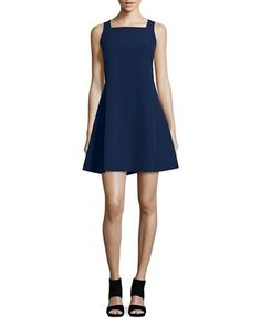 West 22 Crocheted Accented Shift Dress Women's Navy X-Small