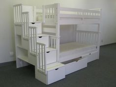 AmazonSmile - Bedz King Tall Twin over Twin Stairway Bunk Bed with 2 Under Bed Drawers, White - for Lucy's room
