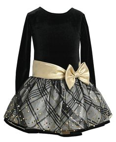 Gorgeous Christmas dress in black and gold for your little girl by Bonnie Jean, with velvet bodice, gold lame bow and plaid skirt with black mesh overlay accented with sparkling gold dots - very classy! (available in sz.2T-6x)
