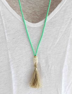 Mint Beaded Necklace- Pastel mint tassel necklace - Beige tassel necklace - Long Summer Necklace - Bohemian Necklace