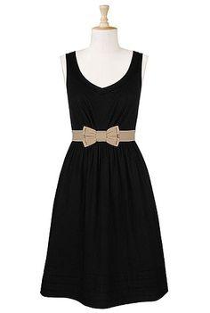 Bow tied waist cotton dress