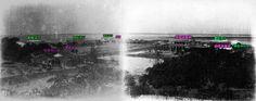 第一次看安平五大洋行就上手 XD 講到台南安平常會提到以前有五大洋行,但位置在哪裡卻很少有人全部搞得清楚。 圖為1895年日軍進入台南後,在熱蘭遮城廢墟上拍攝的安平北岸全景(出處:台灣諸景寫真帖)。