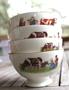Check out our french cafe au lait bowl selection for the very best in unique or custom, handmade pieces from our shops. Alpine Chalet, French Cafe, Country Farm, Country Life, Country Style, French Country, Down On The Farm, Creamy White, French Antiques