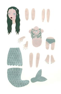 'The Little Mermaid' paper puppet - www.kellymarieroberts.co.uk
