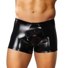 BOXER EFECTO LATEX NEGRO MALE POWER Boxer de color negro de efecto latex brillante.La cintura del Boxer es ancha y elástica para acomodarse a tu cuerpo.Escoge el que más te guste y sorprende a tu pareja.