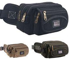 Outdoor Sports Men Canvas Waist Bag Phone Pocket Women Zipper Layered Purse Bags