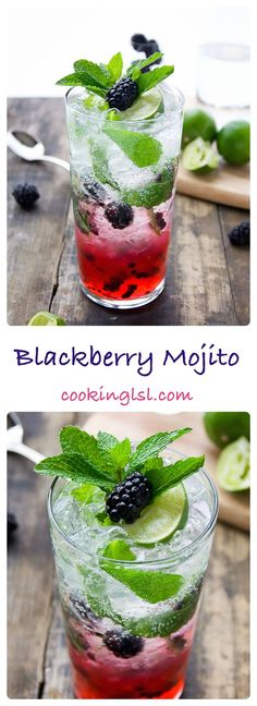 Fresh blackberries, mint, simple syrup and soda - simple and refreshing blackberry mojito. Perfect for a hot summer night or a party. Could be made in a big batch and served in a pitcher. #mojito #blackberries #blackberrymojito