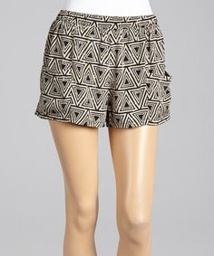 Another great find on #zulily! Black & Taupe Geometric Shorts by Andrée #zulilyfinds
