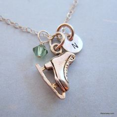Ice Skate Charm Necklace - Hand Stamped Initial Necklace - Charm Chain. $38.00, via Etsy. WANT!!!