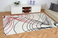 Moderner Teppich Inspiration Wellen weiß