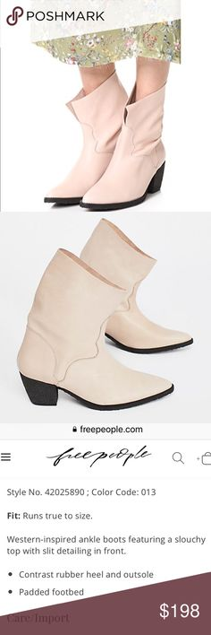 Free People twilight ankle boot nude leather ✨🚀 Brand new in box! Never worn.  Free People twilight ankle boot Leather Free People Shoes Heeled Boots