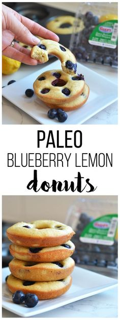These Paleo Blueberry Lemon Donuts are the perfect grain free and refined sugar . These Paleo Blueberry Lemon Donuts are the perfect grain free and refined sugar free way to enjoy your favorite treat! Sub maple syrup for p. Dessert Sans Gluten, Bon Dessert, Paleo Dessert, Paleo Recipes, Low Carb Recipes, Real Food Recipes, Cooking Recipes, Yummy Food, Disney Recipes