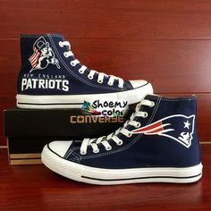 NFL Converse New England Patriots Super Bowl Hand Painted Canvas Shoes