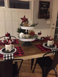 Christmas table settings ideas that will make the grand spread look elegant > Detectview christmas music songs holidays holiday decor merry top xmas playlist video official all i Cheap Christmas, Plaid Christmas, Christmas Time, Christmas Crafts, Buffalo Check Christmas Decor, Nordic Christmas, Christmas Ideas, Elegant Christmas, Modern Christmas