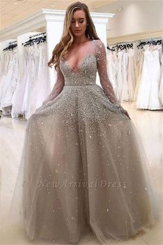 Cute Prom Dresses, A-Line Deep V-Neck Long Sleeves Light Grey Tulle Beaded Prom Dress, Shop plus size prom dresses and full figured formal gowns with an affordable price. Grey Prom Dress, Prom Dresses Long With Sleeves, Beaded Prom Dress, Plus Size Prom Dresses, A Line Prom Dresses, Prom Dresses With Sleeves, Cheap Prom Dresses, Party Dresses, Evening Dresses