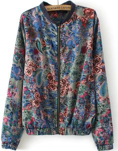 Cazadora Floral cremallera manga larga-azul 22.95