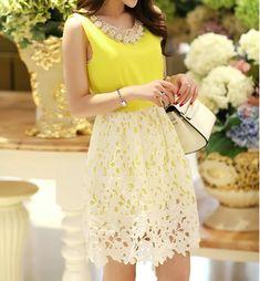 Stitching Lace Sleeveless Vest Dress