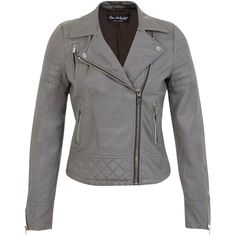 Miss Selfridge Molly Faux Leather Biker Jacket , Grey found on Polyvore featuring polyvore, fashion, clothing, outerwear, jackets, grey, faux leather motorcycle jacket, vegan leather moto jacket, grey moto jacket and vegan moto jacket