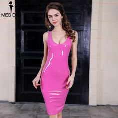 Cheap party dresses, Buy Quality dress dress dress directly from China dress party dress Suppliers: MISS ORD 2017 Sexy irregular neck latex sleeveless party dress FT8271