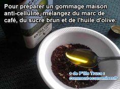 gommage cellulite fait maison café et huile olive avec sucre