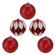Glitter Ornament Set (Set of 5)