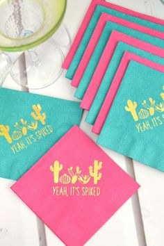 Add a dash of fun to your party drink station, appetizer bar or dessert table with custom printed napkins. Beverage Napkins, Cocktail Napkins, Beverage Drink, Party Napkins, Napkins Set, Picnic Decorations, Printed Napkins, Adult Birthday Party, Milestone Birthdays