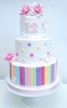 Spots and stripes pastel birthday cake - Swirls Bakery Nottingham