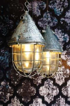 Large Industrial Caged Bunker Lamp from EOW, 1950s for sale at Pamono Industrial Ceiling Lights, Ceiling Lamps, Steel Mesh, Bunker, Save Energy, Colored Glass, Pendant Lamp, Cage, Vintage Designs