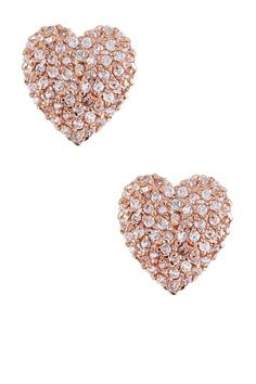 Sparkling Rose Gold Heart Earrings.