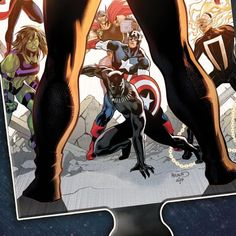 Latest Marvel Incoming Teaser Warns of a Returning Galactic Threat  Marvel Comics latest teaser for the upcoming Incoming event hints at what is likely a returning galactic threat. The teaser is just the latest in a series released by the publisher all of which have come in the form of puzzle pieces featuring heroes and villains from the Marvel Universe. This new teaser is one of the most ambiguous so far depicting the publishers signature team the Avengers rallied against a pair of shadowy legs Comic News, Puzzle Pieces, Marvel Universe, Teaser, Marvel Comics, Avengers, Legs, Univers Marvel, The Avengers