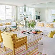 Luscious interiors | www.myLusciousLife.com - Bright Stripes and yellow Palm Beach Style Living Room