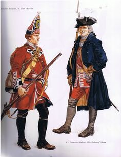 Grenadier Sergeant, St. Clair's Royals and Officer, 13th Regiment of Foot, 1745