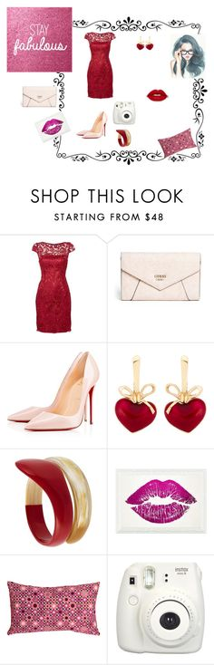 """""""Bez naslova #6"""" by thesnow977 ❤ liked on Polyvore featuring Adrianna Papell, GUESS, Christian Louboutin, KDIA, Tsumori Chisato, Oliver Gal Artist Co., Pillow Decor and Fujifilm"""