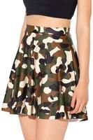 Camouflage Digital Print Skater Skirts Women Pleated Ball Gown Mini Skirts