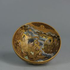 Japanese Antique Gold Satsuma Bowl Japan Porcelain 19th  Interesting and fine painted Satsuma bowl.