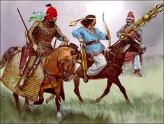 A Parthian cataphract and a light cavalry archer come across a fellow comrade with a captured Roman standard after the battle of Carhae. The Parthian victory was a complete success and ensured Parthian independence from Rome.