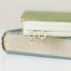 Handmade in Scotland silver and 9ct gold circle and heart earrings - By Alison Moore Designs