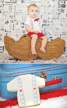 Little Man Mustache Bash {First Birthday} love the newsprint background