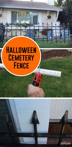 Make a cheap cemetery fence for Halloween using light-weight PVC pipes and black foam sheets! Such an easy DIY that saves you a ton of money and lets you add any additional features (like rusting paint) -- totally up to you. http://www.ehow.com/how_8083506_make-cheap-cemetery-fence-halloween.html?utm_source=pinterest.com&utm_medium=referral&utm_content=freestyle&utm_campaign=fanpage