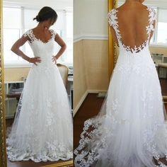 LIR035 Free Shipping Custom Made Cape Sleeve A Line  Floor-Length White Appliqued Backless Sexy Wedding Dress  Hawaii 2